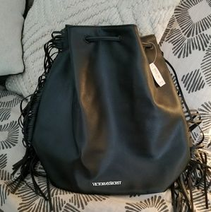 Victoria secret fringe black backpack purse